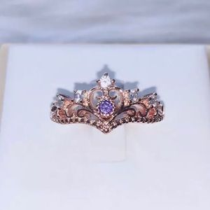 ARRIVED Rose Gold Princess Crown Ring Purple Stone
